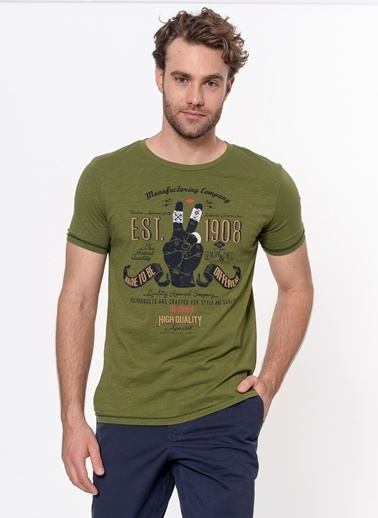 Lee Cooper Baskılı T-Shirt Yeşil